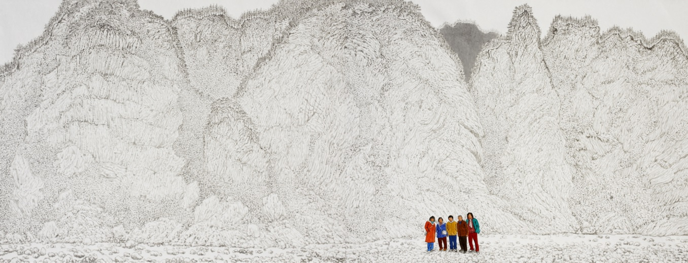 1Blurry landscape-family 130x368cm muck on Korean paper 2014
