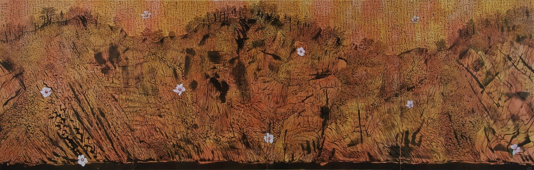 1Unfamiliar landscape 174×540 cm muck on Korean paper 2013