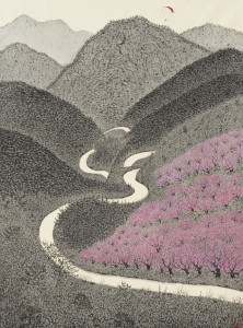 Landscape with a road11 174X130cm muck on korean paper  2014 - ¦¦+þ¦+