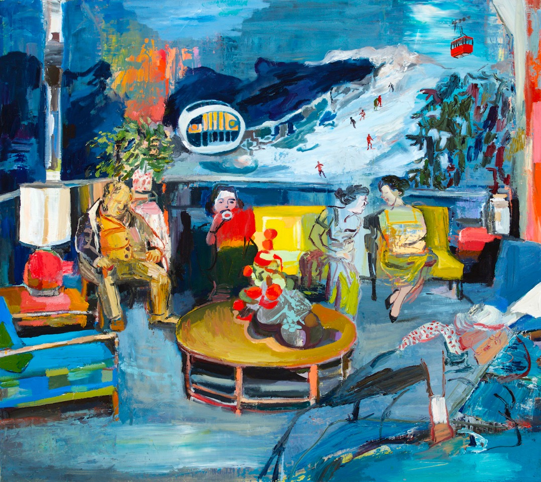 Inauguration Party, 2015, Acrylic and Oil on Wood, 42 x 47 Inches