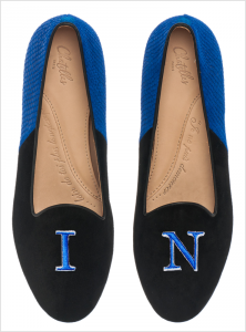 Hercule Midnight Black Suede and Klein: Blue Fishscale Patterned Suede with I.N