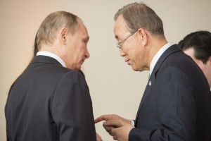 Secretary-General Ban Ki-moon (right) with Vladimir Putin, President of the Russian Federation - 30 November 2015