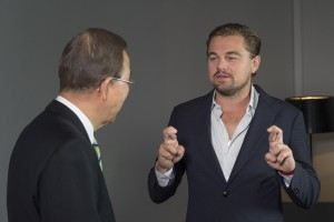 Secretary-General Ban Ki-moon (left) in an interview with UN Messenger of Peace Leonardo DiCaprio at the UN Climate Change Conference (COP21), in Paris, France. 05 December 2015
