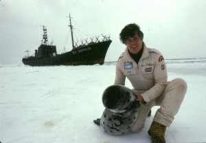 1983 Paul on ice with a seal