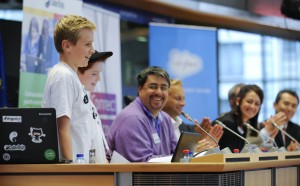 In the Photo: Left to right: Tom, Sam (both from Wilmslow CoderDojo), Bill Liao (CoderDojo Co-Founder), Manuel Kohnstamm (Liberty Global), Mary Moloney (CoderDojo Global CEO), Sean Kelly MEP and SW Kim (Samsung Europe). Photo Credit: Flickr/veldemanphoto.