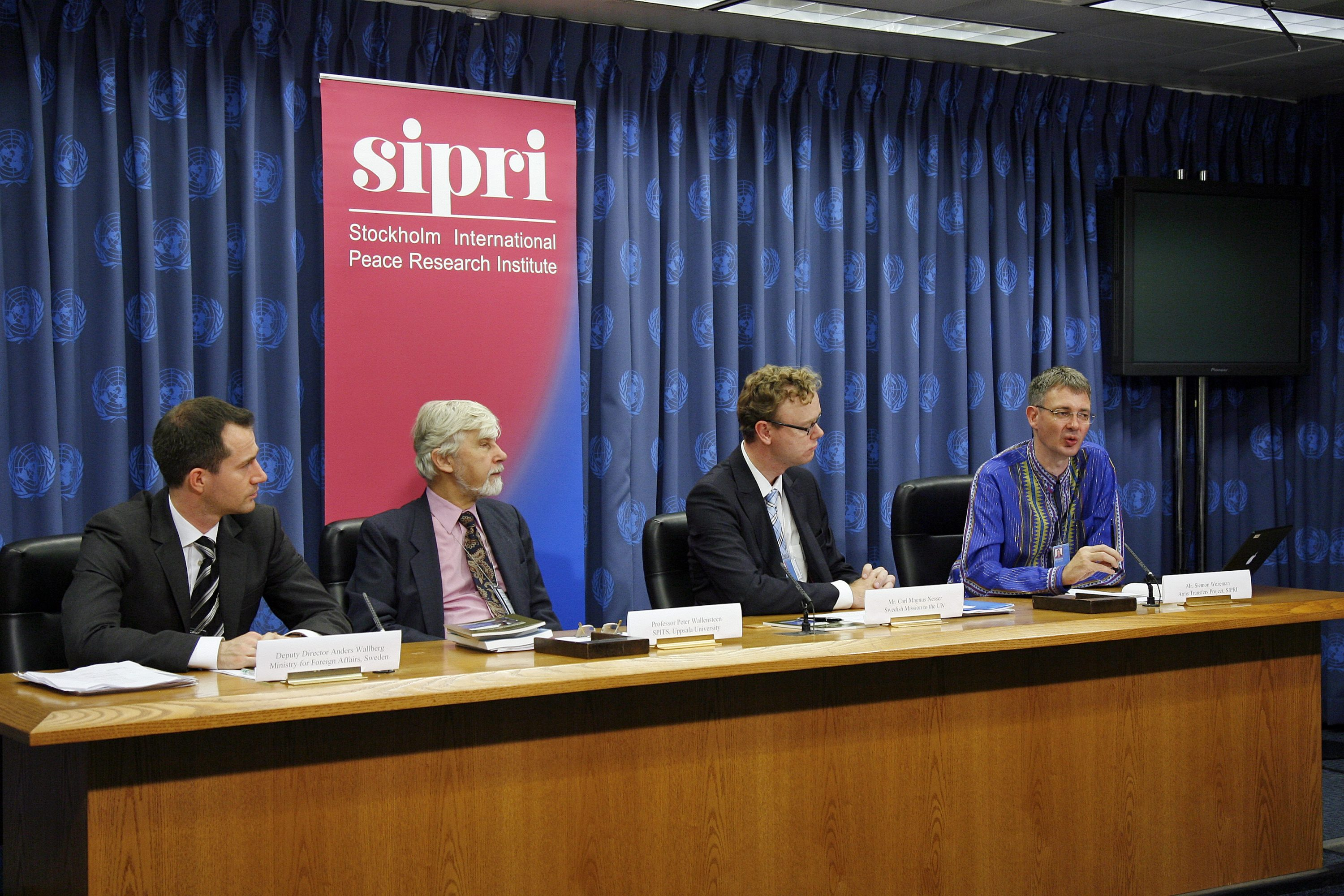 "Press Conference: Following the launch (at 1:15 pm in Conference Room 6) of the report ""United nations Arms Embargoes: Their Impact on Arms Flows and Target Behaviour"", sponsored by the Permanent Mission of Sweden to the United Nations in cooperation with the Arms Transfers Project of the Stockholm International Peace Research Institute (SIPRI) and the Special Programme on the Implementation of Targeted Sanctions (SPITS) of the Department of Peace Conflict Research, Uppsala University. Panelists include: Peter Wallensteen, SPITS; Batees Gill, SIPRI; and Anders Wallberg of the Swedish Ministry of Foreign Affairs. The moderator will be Carl Mangus Nesser, Permanent Mission of Sweden."