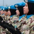 Malaysian women peacekeepers of the UN Interim Force in Lebanon (UNIFIL) at a medal ceremony in Kawkaba, south Lebanon.