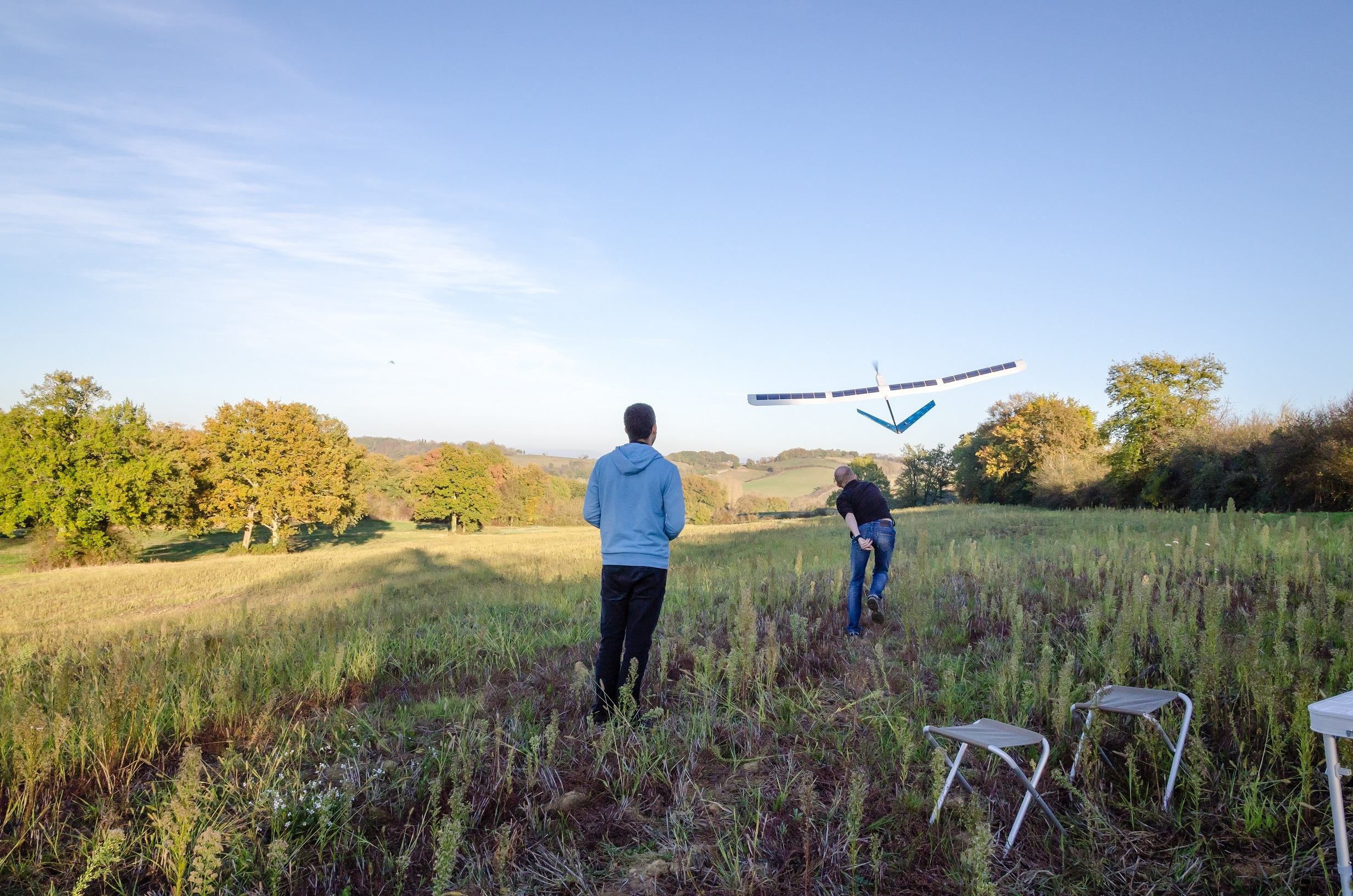 In the Photo: Laurent Rivière and his co-founder Laurent Moure launching the solar drone Photo Credit: Sunbirds