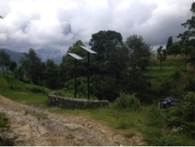 In the Photo: Solar panels being used to achieve sustainable energy independence at Annapurna Eco-village. Photo Credit: Katherine Baxter