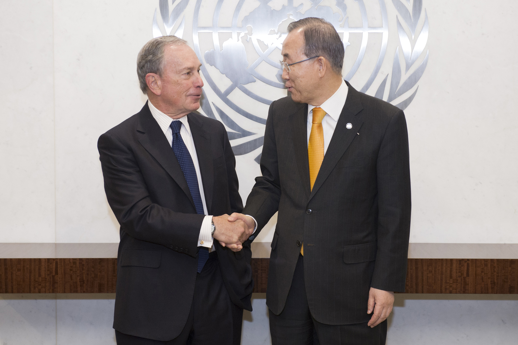 Secretary-General Ban Ki-moon (right) meets with Mr. Michael Bloomberg, Special Envoy of the Secretary-General for Cities and Climate Change.