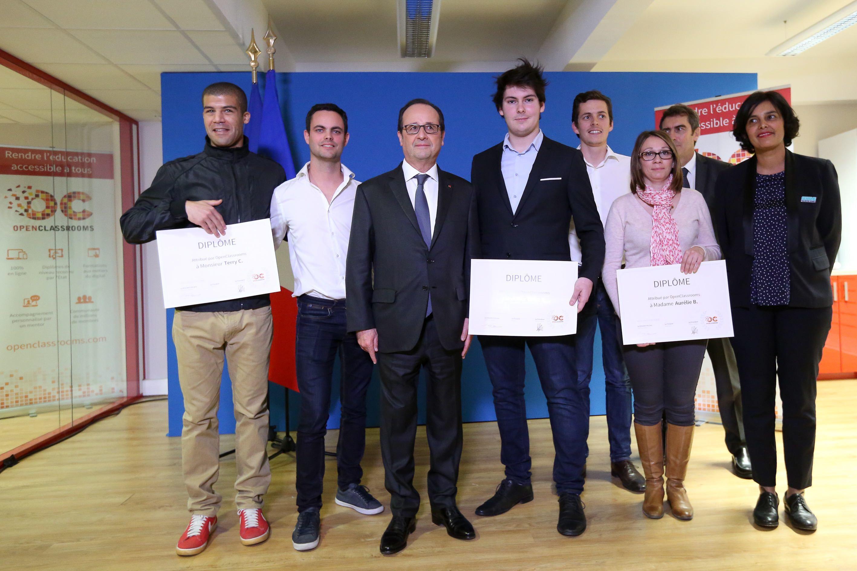 Déplacement du Président de la République François Hollande dans les locaux d'OpenClassrooms