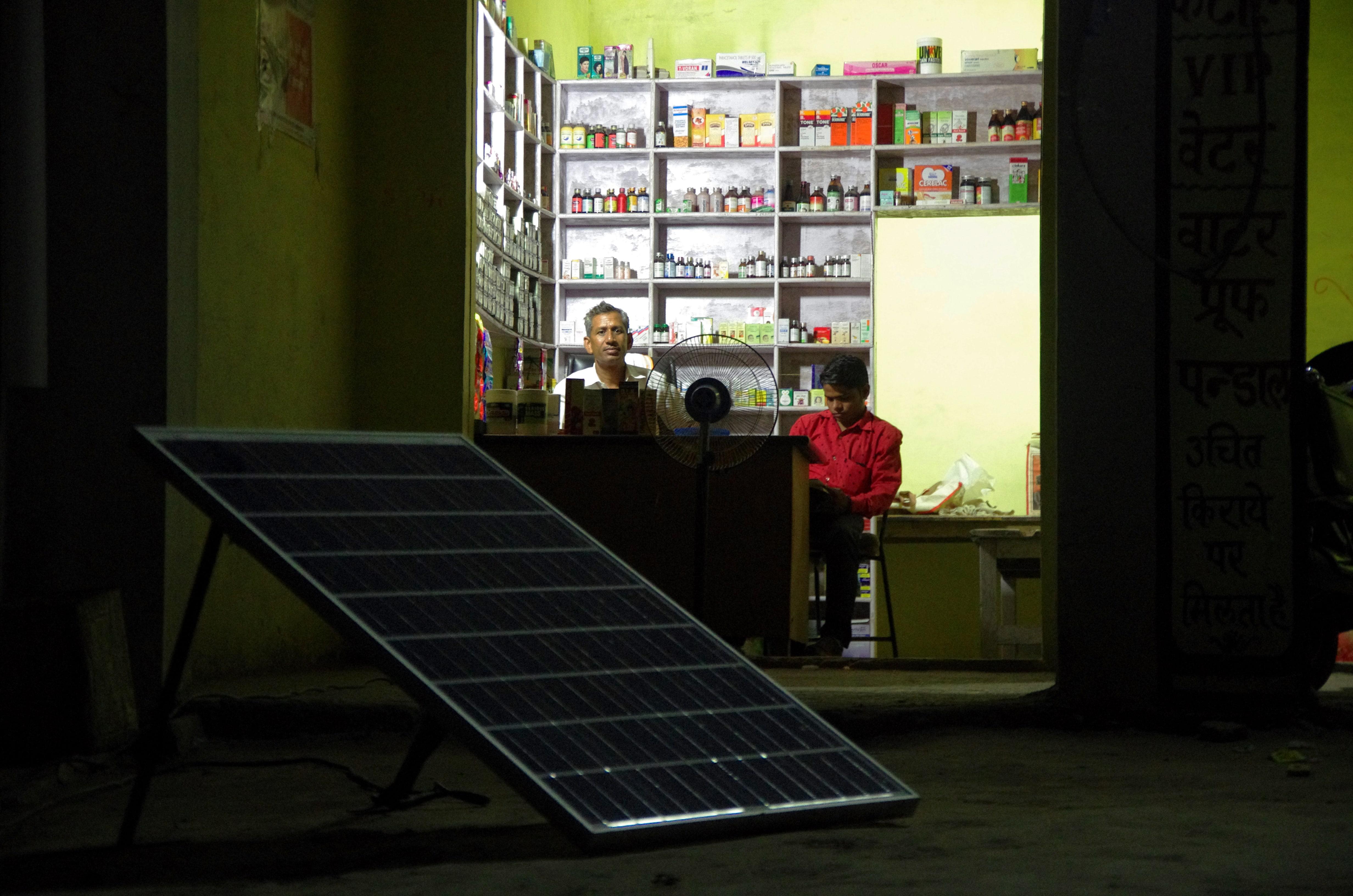 Rural chemist open after dark through Simpa solar home system
