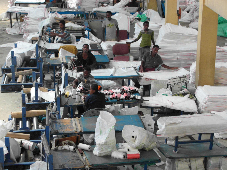 Becho Woliso packing sacks cooperative facility Ethiopia