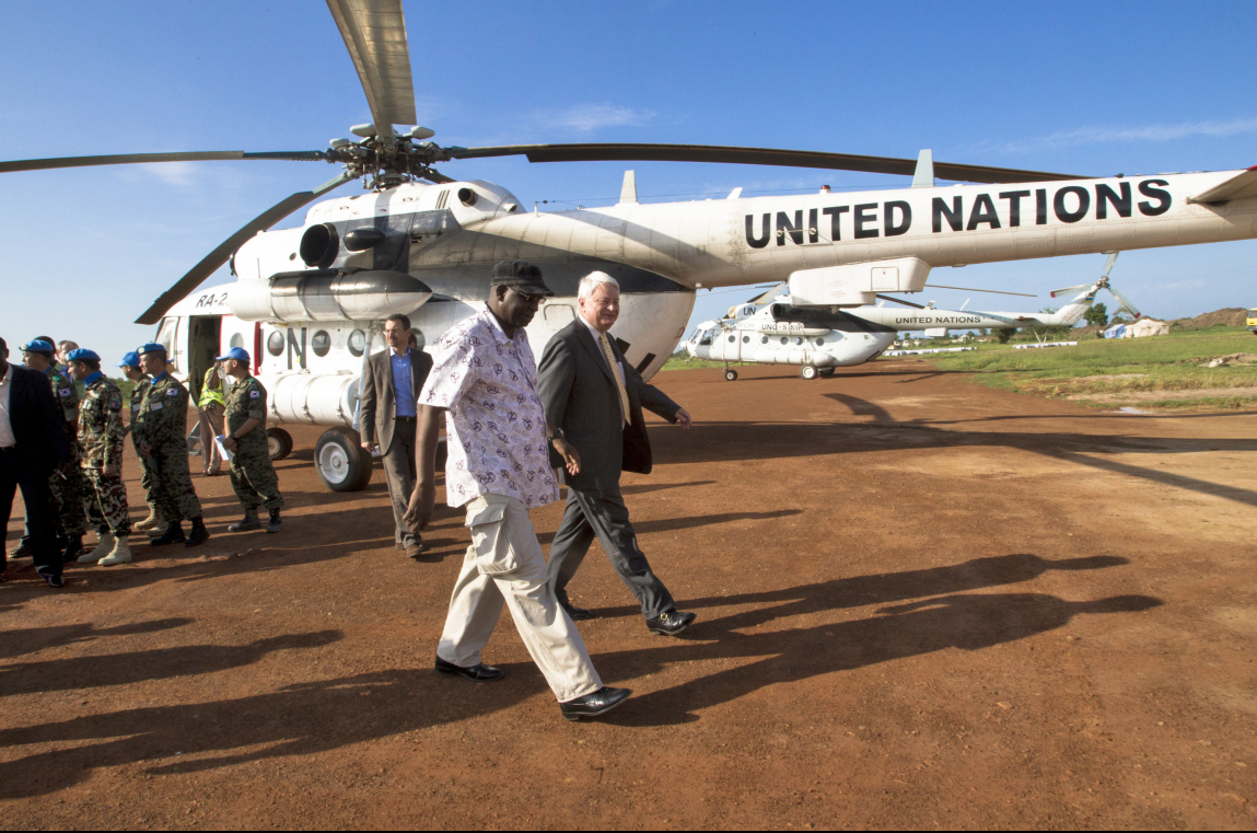 Hervé Ladsous (right), Under-Secretary-General for Peacekeeping Operations, arrives in Bor, South Sudan.