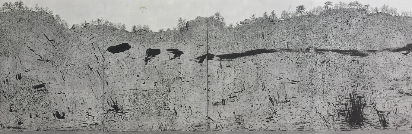 Flowing landscape 135x390cm muck on Korean paper 2008