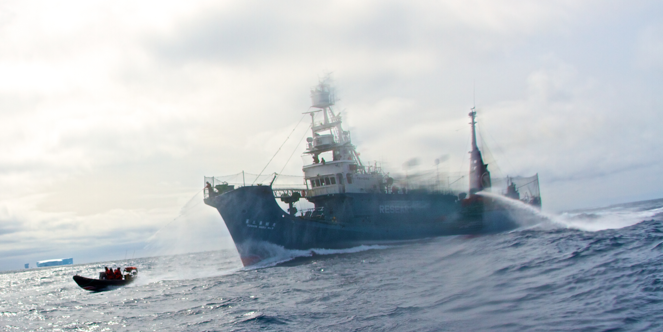 Delta crosses the bow of the Yushin Maru #3. Credit: Sea Shepherd Conservation Society