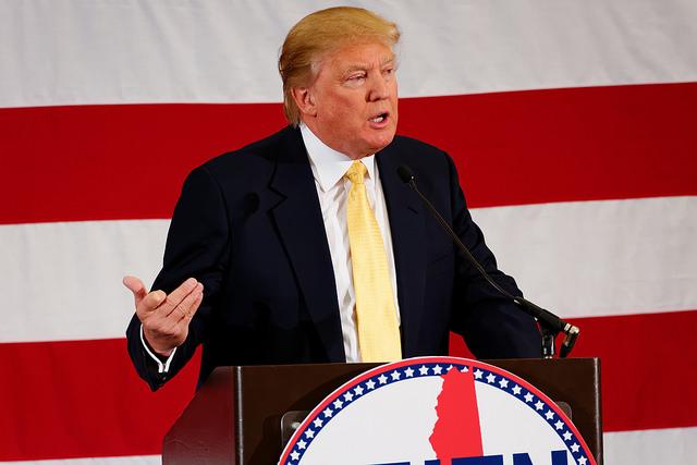 Republican presidential contender Donald Trump at a rally in Nashua, NH. Photo courtesy Michael Vadon.