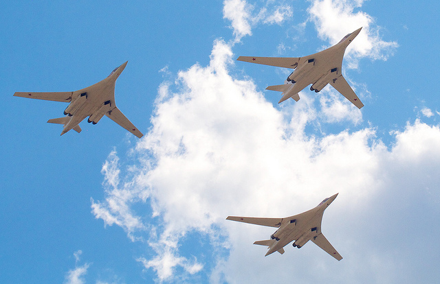 Russian Tupolev Blackjack Bombers. Russia launched an air war against Syrian rebels and ISIS to defend its Syrian allies. Photo courtesy Andrey Belenko via Flickr.
