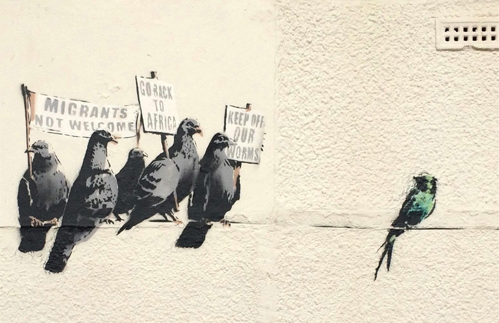 banksy essay example Graffiti is the art of regular people these people are not considered artists but the criminalised voice of the populace for most artists, gaining recognition and selling their works for high-prices is a life-long aspiration and for the most recognition doesn't happen before death.