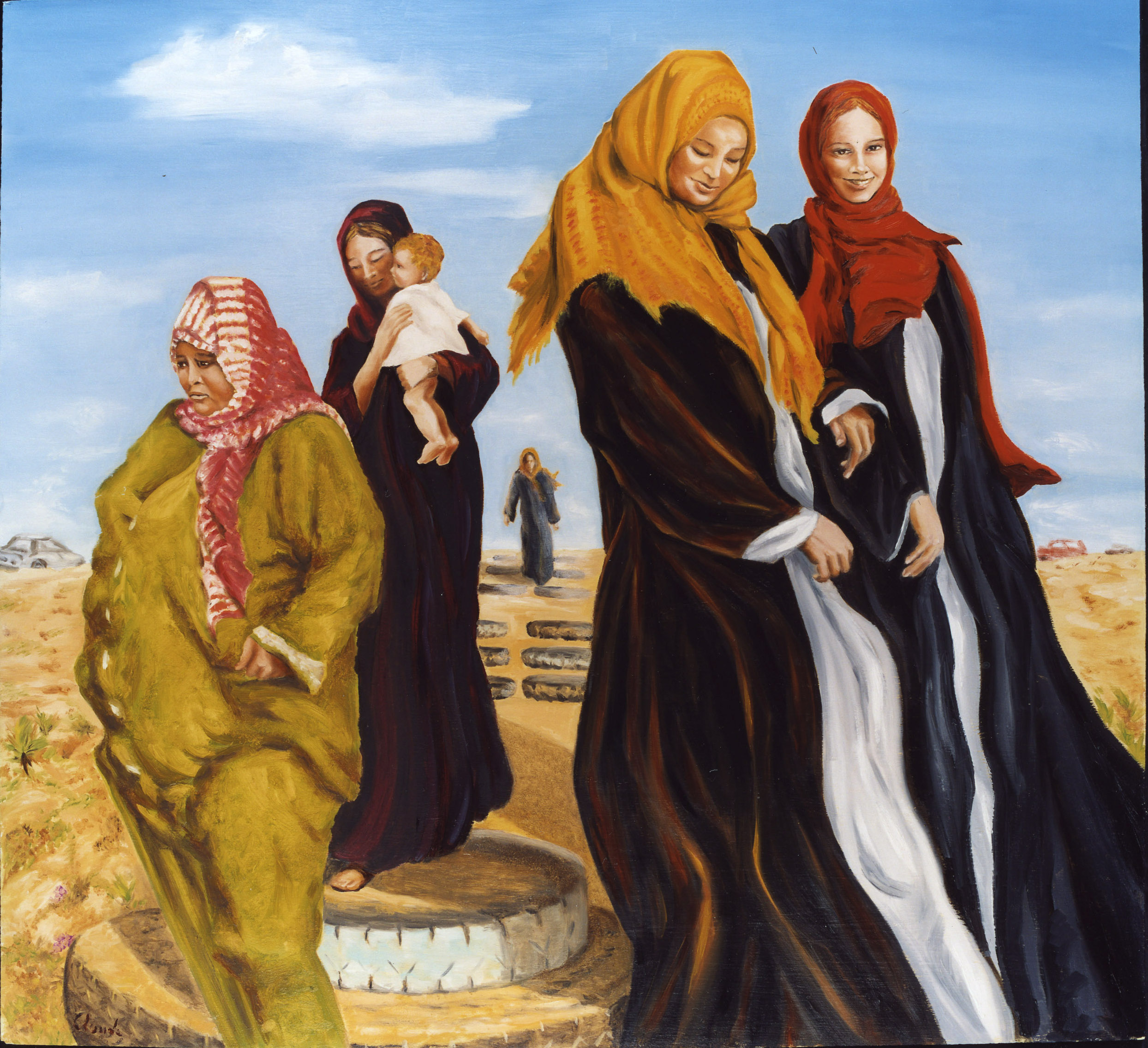 Palestine women going to the beach 2003