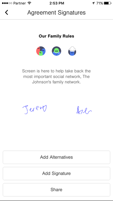agreement signatures, screen