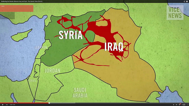 ISIS-controlled territory in October. ISIS has seen its territory shrink to an international coalition over the past 24 months. Graphic courtesy of Vice via Flickr.