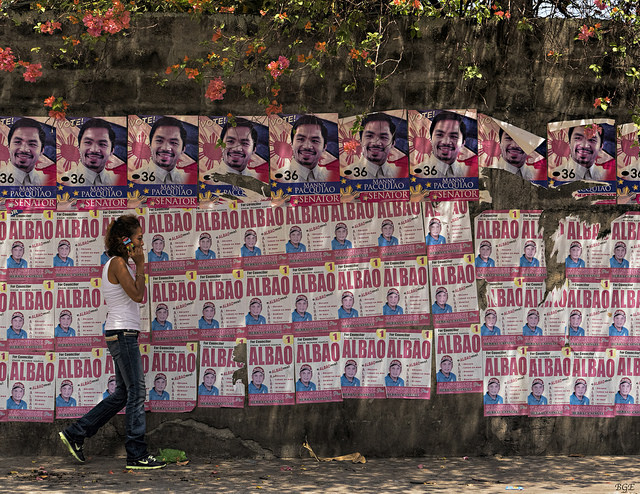 Campaign posters in Bacolod City in May, 2016. Duterte was elected president a month later. Photo Credit: Brian E. via Flickr.