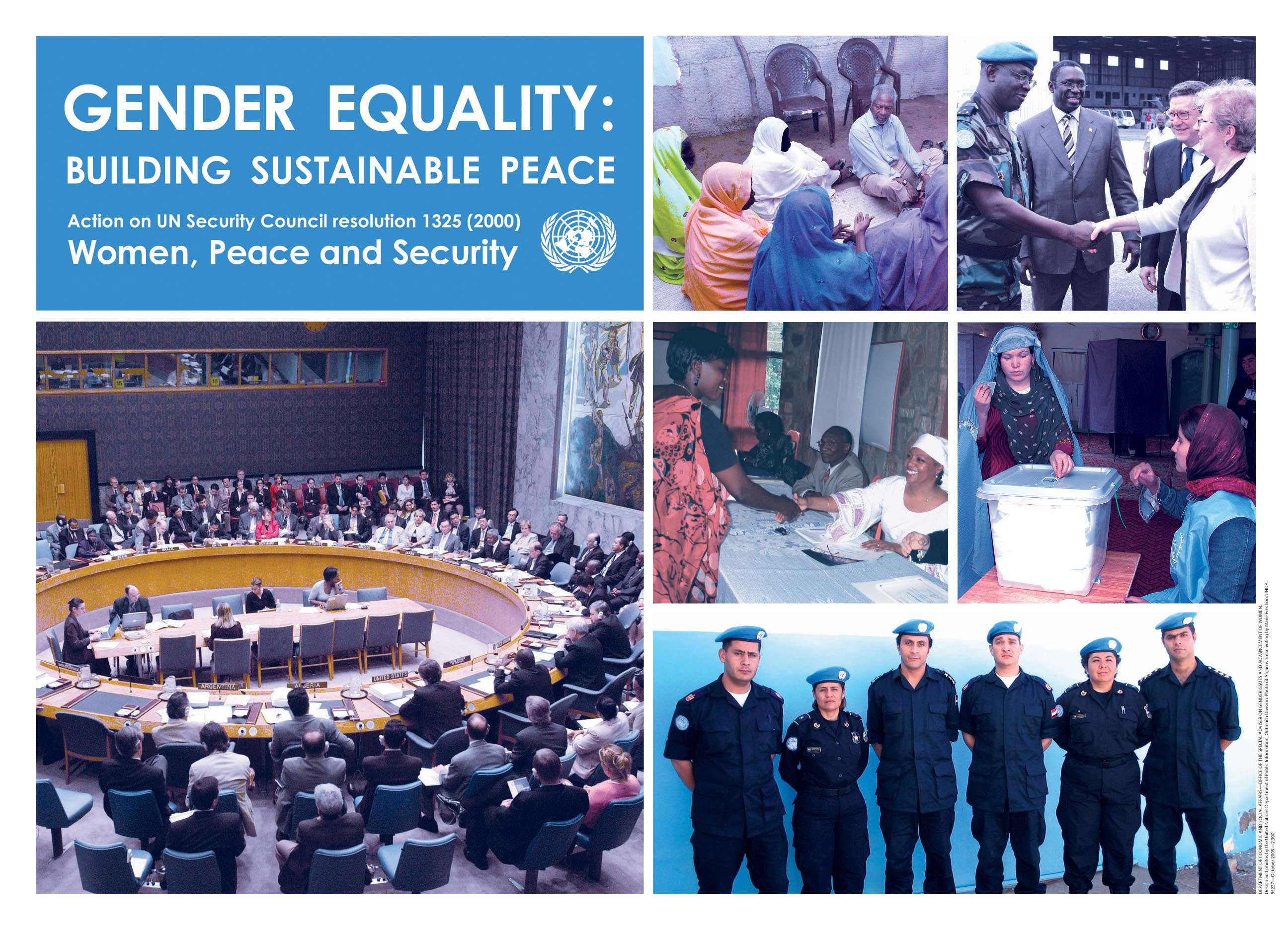 "In the Photo: Poster ""Gender Equality: Building Sustainable Peace"". Photo Credit: http://www.un.org/womenwatch/ianwge/taskforces/wps/poster-english.pdf"