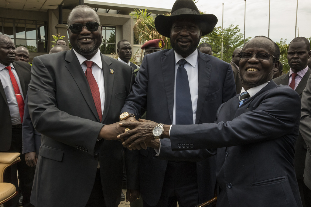 South Sudan Forms Transitional Government of National Unity From left Riek Machar Teny-Dhurgon, First Vice-President of the Republic of South Sudan; President Salva Kiir; and James Wani Igga