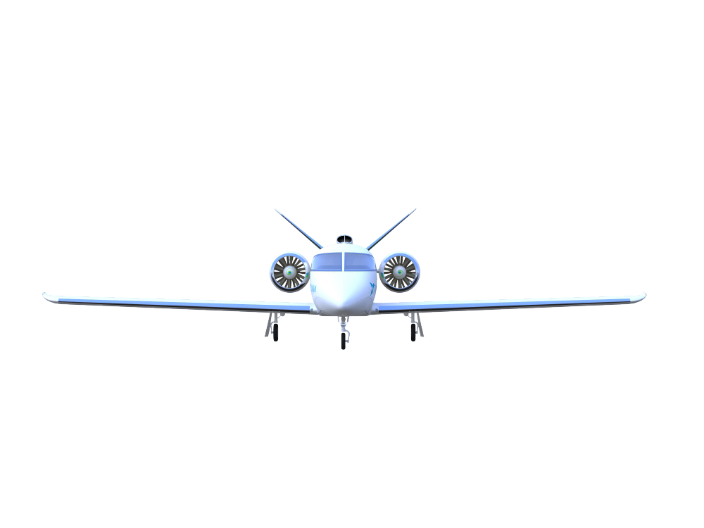 Zunum 2022 aircraft front view with gear