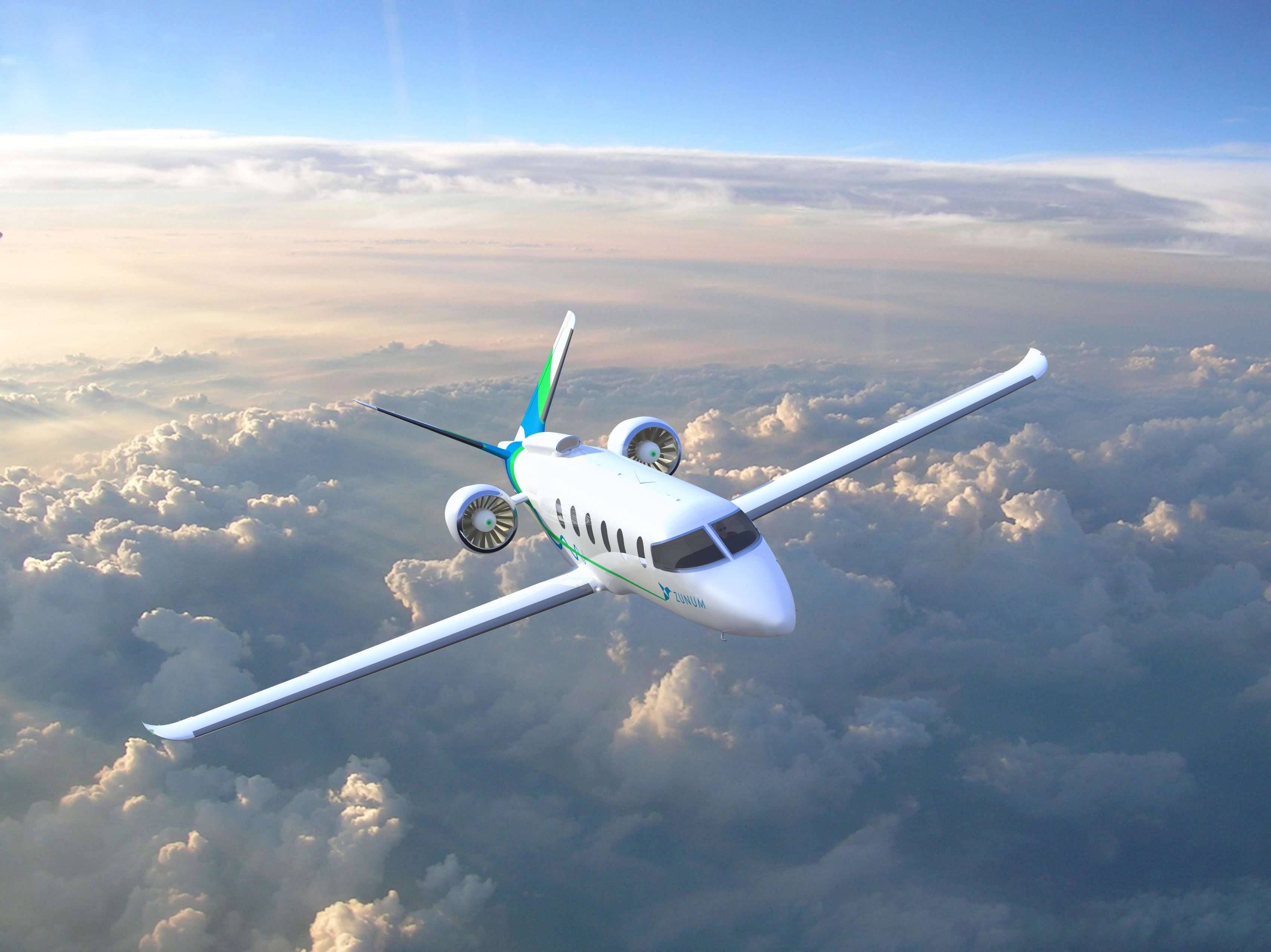 Zunum 2022 aircraft in clouds