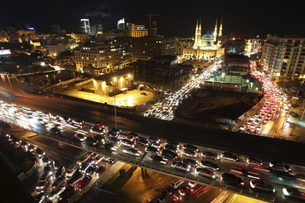 Heavy traffic fills the streets in Downtown Beirut ahead of Chritsmas week