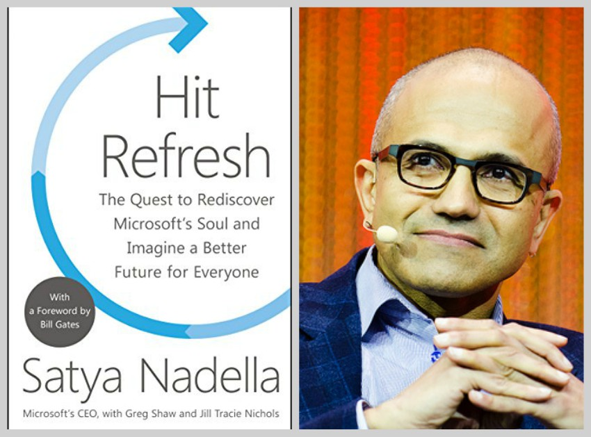 Satya Nadella and book cover collage