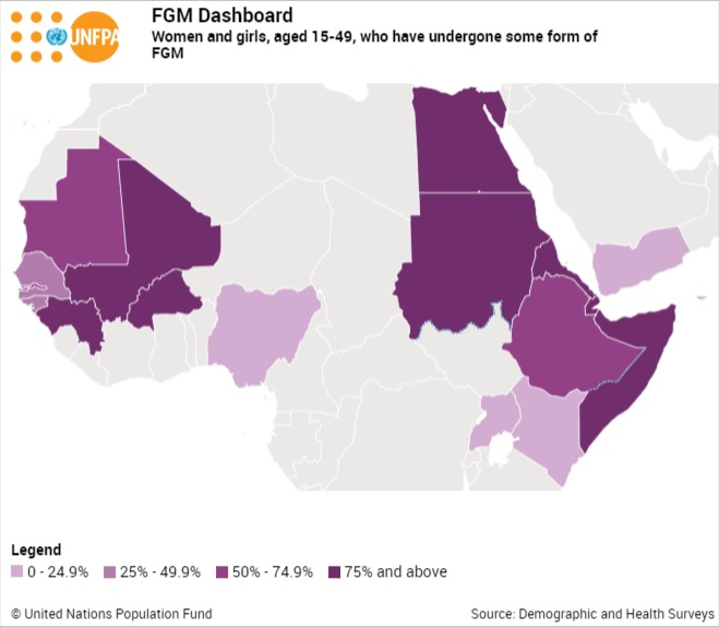 Women and girls, aged 15-49, who have undergone some form of FGM