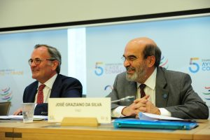 "30 June 2015, Geneva, Switzerland - FAO Director-General José Grazaiano da Silva on a panel during the Fifth Global Review of Aid for Trade: ""Reducing Trade Costs for Inclusive, Sustainable Growth"", 30 June - 02 July 2015, World Trade Organization (WTO) headquarters."