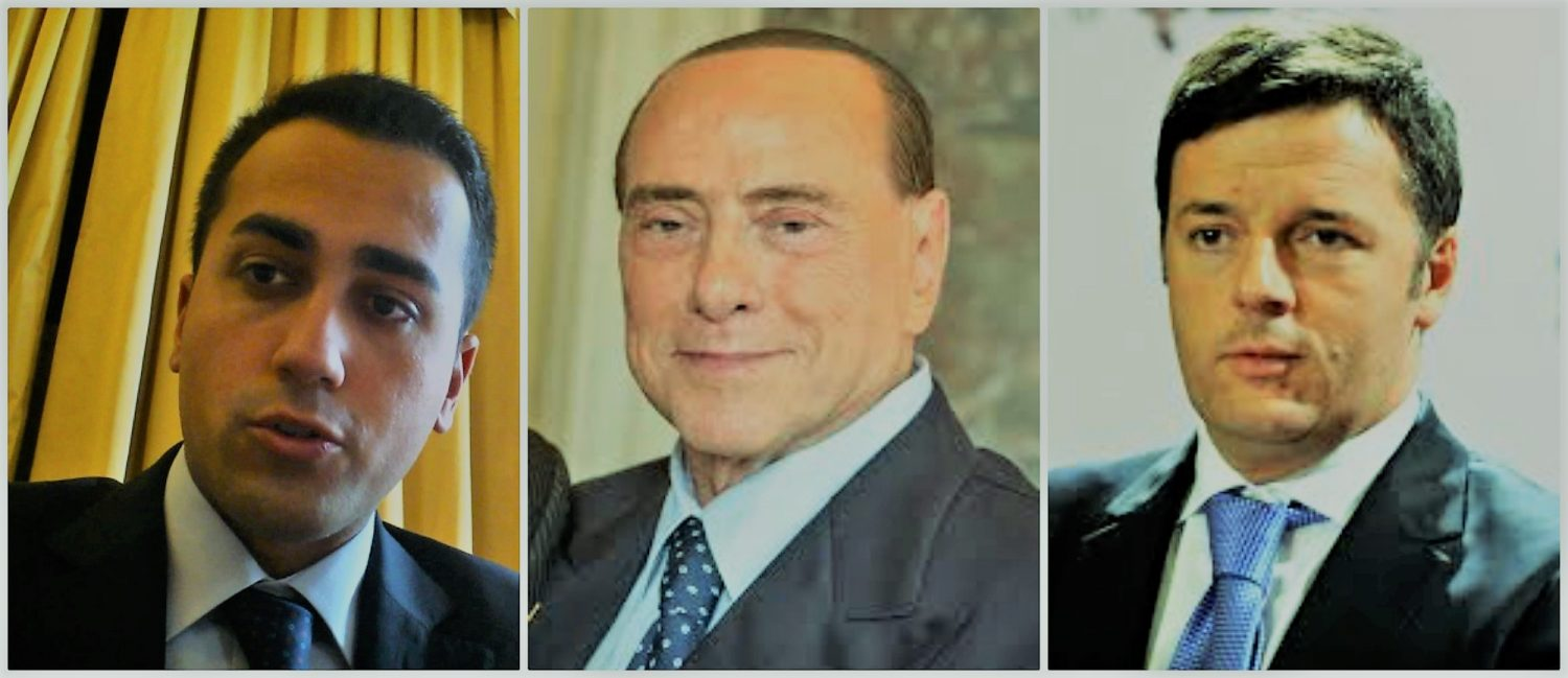 Italian elections collage Di Maio Berlusconi Renzi with neo filter