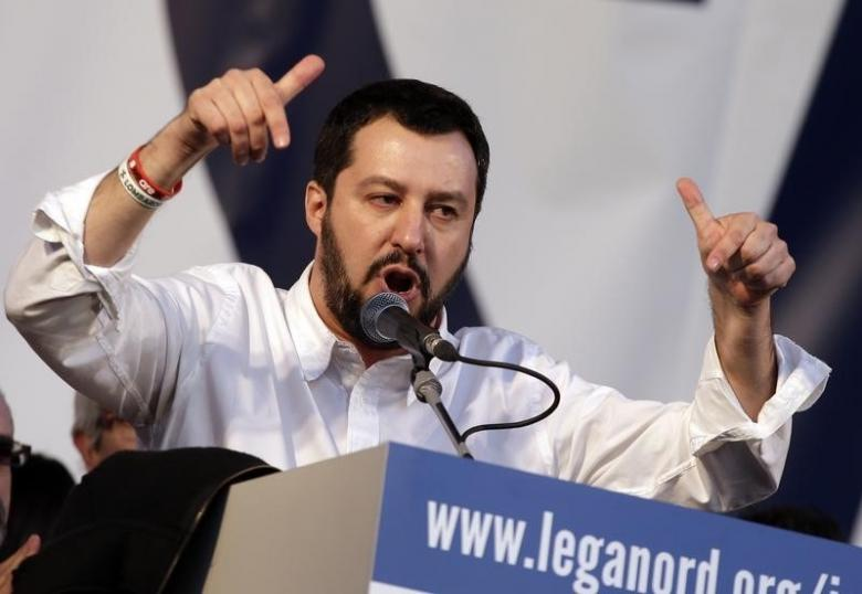 Northern League party leader Matteo Salvini speaks on stage during a rally in downtown Rome