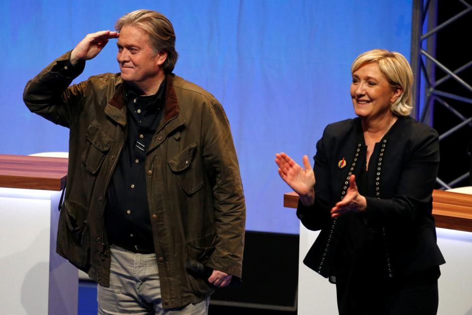 Marine Le Pen, National Front political party leader, and Former White House Chief Strategist Steve Bannon attend the party's convention in Lille