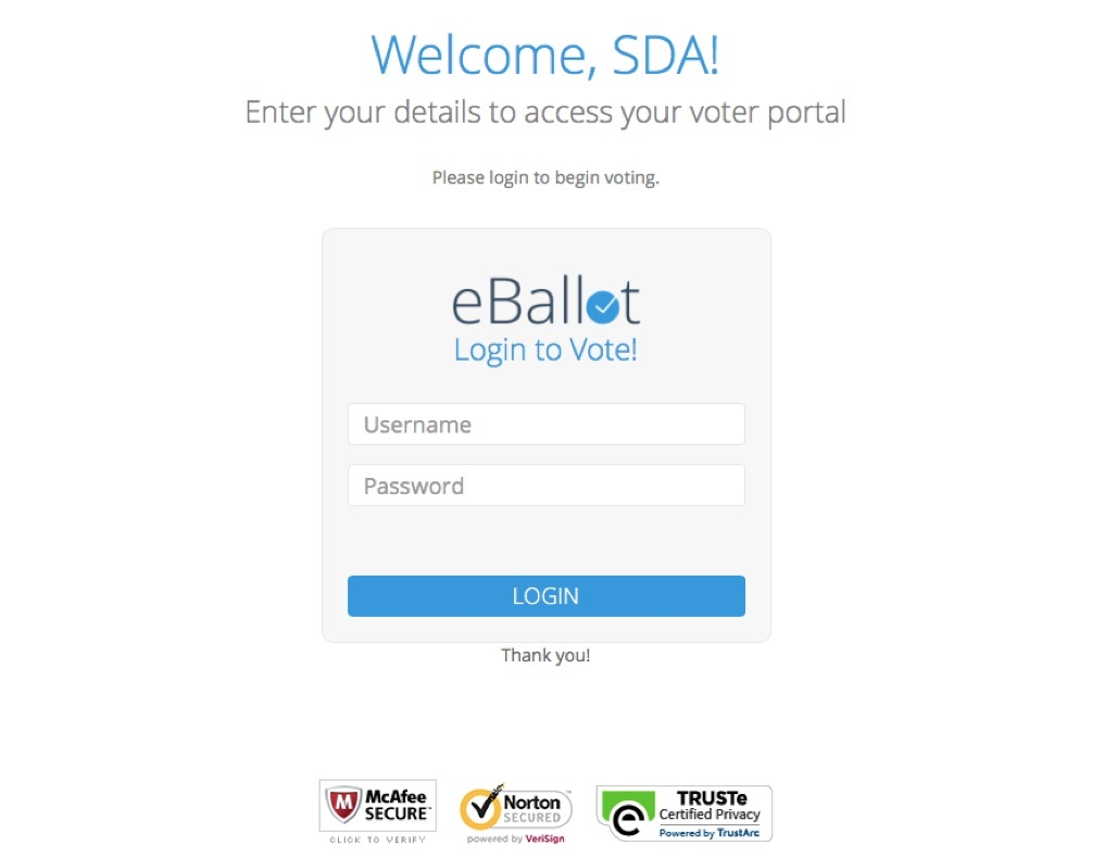 eBallot login - online voting
