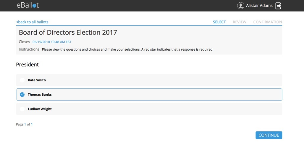 eBallot voting screen - online voting