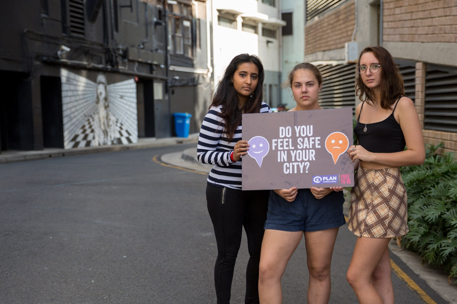 """Three of Plan International Australia's youth activists ask """"Do you feel safe in your city?"""""""