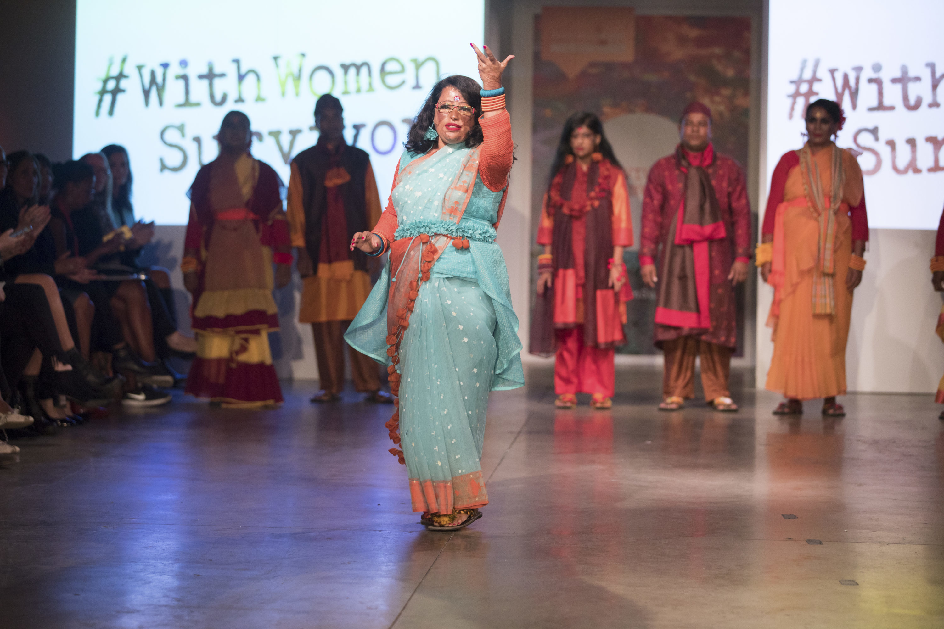 The Old Truman Brewery, Brick Lane, London. 10th October 2017. 'Survivors' Runway' led by acid attack survivors from Bangladesh. Photo Credit: ©Chris Yates